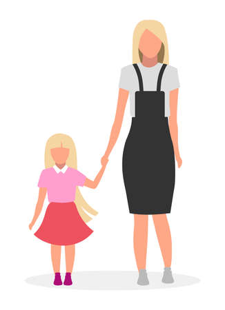 Mother with daughter flat vector illustration. Family lookbook concept. Blonde  younger and older sisters cartoon character. Female parent with preschool, preteen child, kid on white background 向量圖像