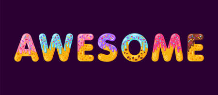 Awesome biscuit vector lettering. Glazed gingerbread inscription. Tempting design typography. Cookies letters motivational phrase isolated on dark purple. Biscuit word t shirt print, banner element