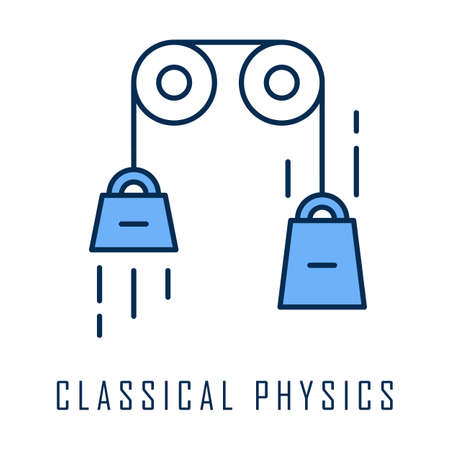 Classical physics color icon. Laws of motion and gravitation. Mechanical energy research. Theoretical kinematics physical experiment. Basis of classical mechanics. Isolated vector illustration