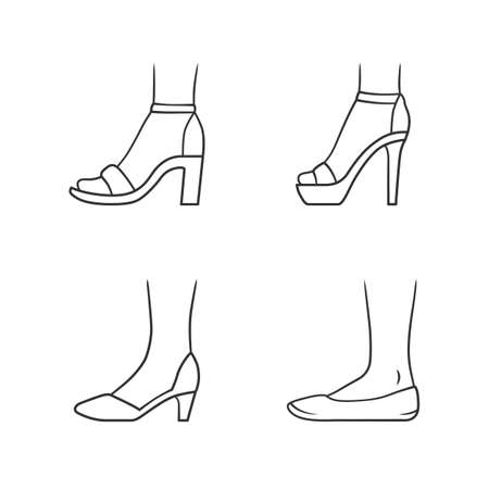 Women formal shoes linear icons set. Female elegant high heels footwear. Classic pumps, ballerinas, sandals. Editable stroke. Thin line contour symbols. Isolated vector outline illustrations Ilustracja