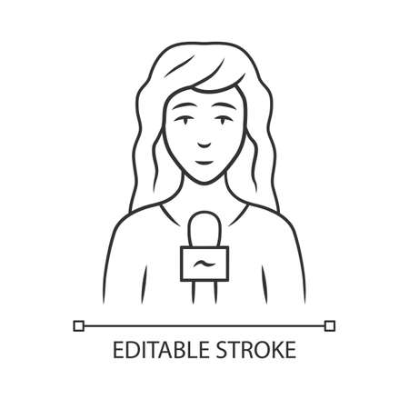 Reporter woman linear icon. TV presenter, interviewer with microphone. Female journalist taking interview. Thin line illustration. Contour symbol. Vector isolated outline drawing. Editable stroke