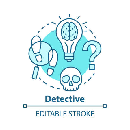 Detective literature concept icon. Crime fiction idea thin line illustration. Mystery criminal story and investigation. Mystery novel. Evidence search. Vector isolated outline drawing. Editable stroke Фото со стока - 131290152