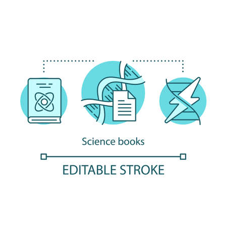 Science books concept icon. Sci fi literature idea thin line illustration. Educational textbooks for studying, physics learning books. Vector isolated outline drawing. Editable stroke Çizim