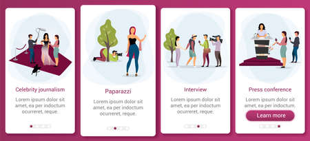 Journalism and mass media  onboarding mobile app screen template. News broadcasting, reportage, interview. Walkthrough website steps with flat characters. UX, UI, GUI smartphone cartoon interface Ilustração