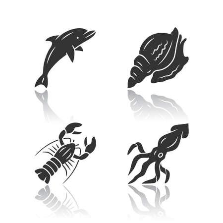 Ocean animals drop shadow black glyph icons set. Dolphin, squid, lobster, triton. Underwater world inhabitants. Swimming fish. Seafood restaurant menu. Aquatic creatures. Isolated vector illustrations Illusztráció