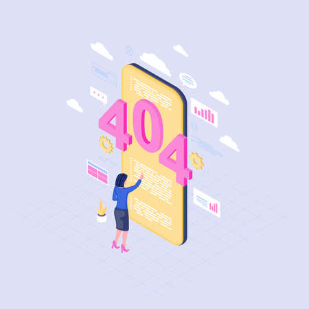 Smartphone browsing problem isometric illustration. 404 error message on mobile phone screen. Female user reading lost server connection notification. IT expert solving internet failure   Çizim