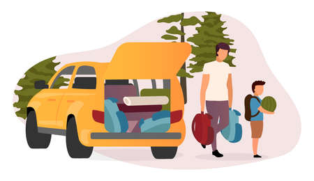 Family road trip flat vector illustration. Cartoon father and son carrying backpacks, watermelon. Car loaded with camping equipment. Summer vacation, backpacking holiday in countryside, forest Illusztráció