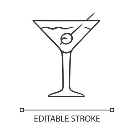 Martini linear icon. Footed glass with drink and olive. Cocktail with gin, vermouth. Tumbler with mixed drink. Thin line illustration. Contour symbol. Vector isolated outline drawing. Editable stroke
