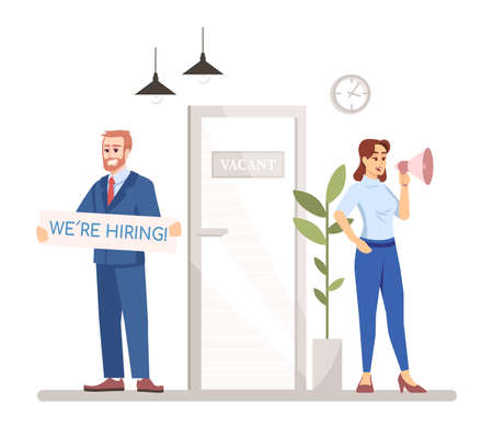 HR managers looking for workers flat vector illustration. Vacant job position. Employment service. Man and woman hiring employers isolated cartoon characters on white background Illustration