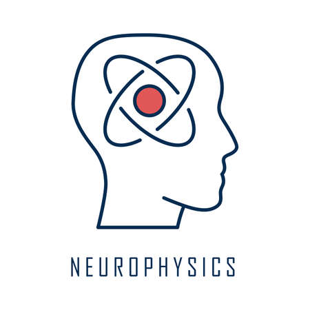 Neurophysics color icon. Nervous system, human brain studying. Biophysis branch, neurobiophysics. Neuroscience research and progress. Cognitive neuroscience. Isolated vector illustration Иллюстрация