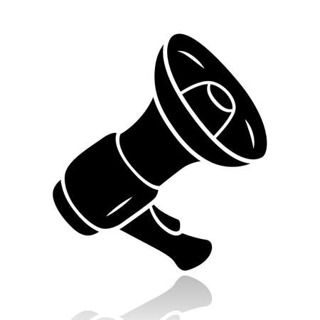 Mouthpiece drop shadow black glyph icon. Megaphone, loudspeaker. Breaking news, announcement symbol. Device for pronouncing loud warning and reporting important news. Isolated vector illustration