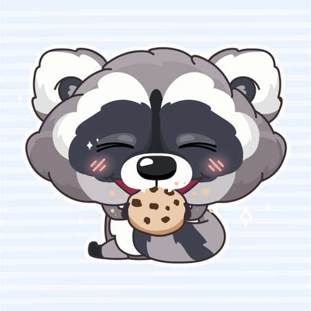 Cute raccoon kawaii cartoon character. Adorable and funny animal eating biscuits, cookies isolated sticker, patch, kids book illustration. Anime baby raccoon tasting sweets emoji on blue background