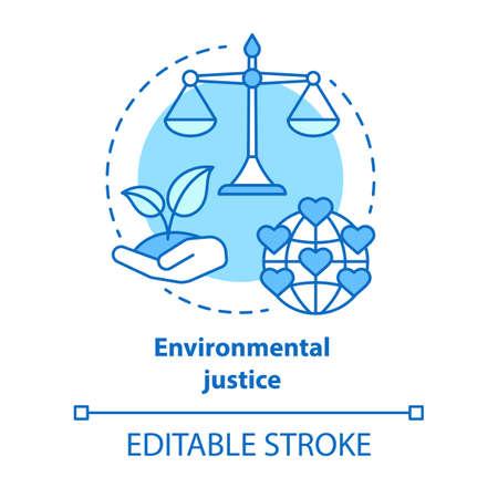 Icona del concetto di giustizia ambientale. Atteggiamento equo nei confronti dell'illustrazione al tratto sottile dell'idea della terra. Prendersi cura della natura. Vita sostenibile. Disegno di assieme isolato vettoriale. Tratto modificabile