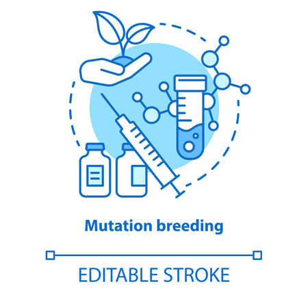 Mutation breeding concept icon. Bioengineering and biotechnology idea thin line illustration. Genetical modification and plant selection. Vector isolated outline drawing. Editable stroke