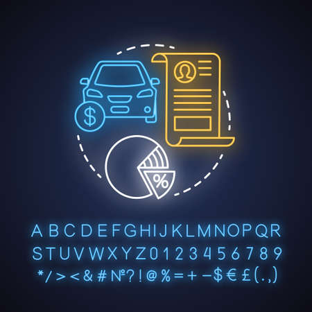 Property taxes neon light concept icon. Calculating tax on value of possessions idea. Real estate, automobile taxation. Glowing sign with alphabet, numbers and symbols. Vector isolated illustration