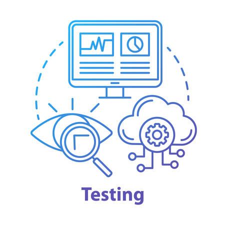 Testing concept icon. Search for information on computer and cloud storage. Web analytics. Defects recognizing idea thin line illustration. Vector isolated outline drawing
