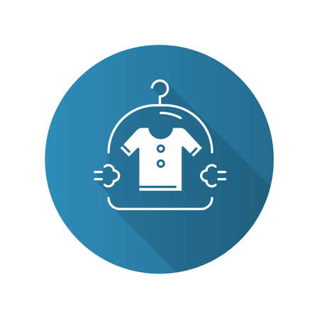Dry cleaning service blue flat design long shadow glyph icon. Drycleaning, laundry industry. Dirty clothes washing, textile careful drying, clean clothing package. Vector silhouette illustration