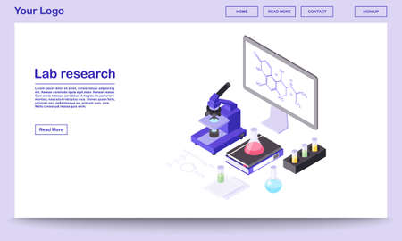 Lab research tools isometric webpage template. Modern laboratory equipment, 3d microscope, beakers. Chemical substance formula on big board, screen. Scientific center landing page with text space Vecteurs