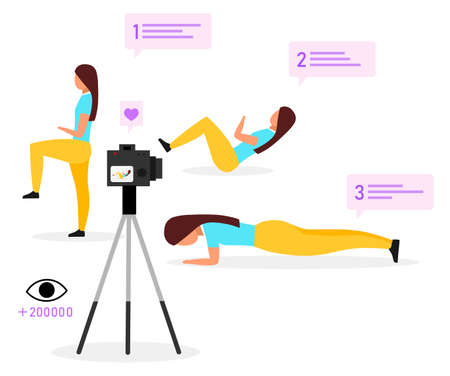 Sports blogger flat vector illustration. Fitness trainer, vlogger streaming video. Physical exercise online tutorial. Social media vlog content. Isolated cartoon character on white background