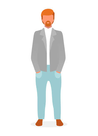Casual style red haired guy flat vector illustration. Confident man in formal menswear cartoon character. Fashion model lookbook. Successful businessman, top manager isolated on white background