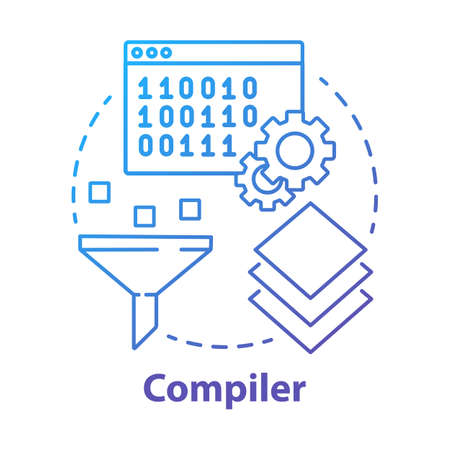 Compiler concept icon. Software development. Machine language. Programming. Data filtering. Computer code translation idea thin line illustration. Vector isolated outline drawing