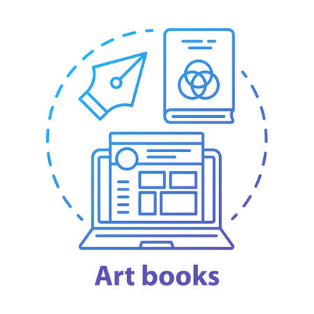 Art books blue concept icon. Graphic design literature idea thin line illustration. Writing articles, blog content creating. Social media post design.Vector isolated outline drawing  イラスト・ベクター素材