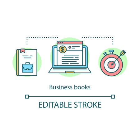 Business books concept icon. Financial literature idea thin line illustration. Motivational and self-development stories. Achieving goals. Vector isolated outline drawing. Editable stroke