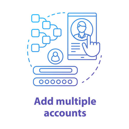 Add multiple accounts blue concept icon. Create new user profile idea thin line illustration. Webpage registration. Social network authorization, app subscription. Vector isolated outline drawing Vektorgrafik