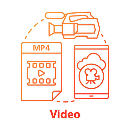 Video red concept icon. Shooting movie idea thin line illustration. Videoclips, films, media files. Videorecording, filming, video production & filmmaking. Vector isolated outline drawing  イラスト・ベクター素材