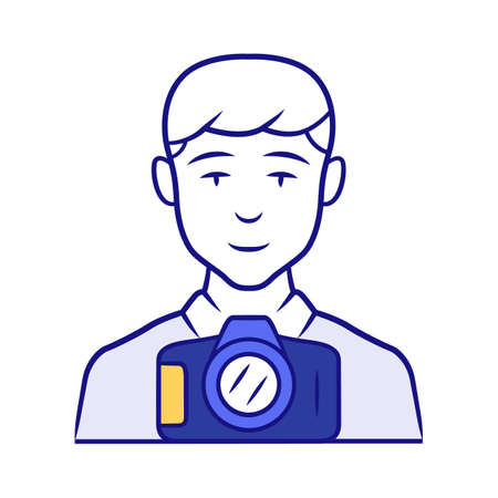 Photojournalist blue color icon. Photographer, paparazzi. Making snapshot. Professional media reporter, correspondent. Journalist taking picture. Isolated vector illustration