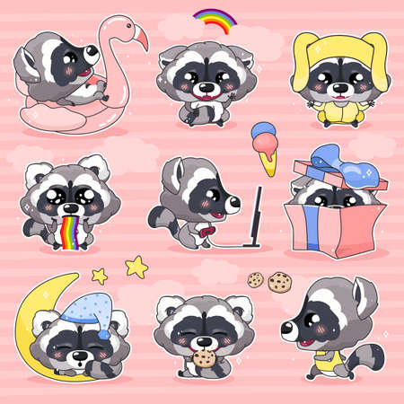 Cute raccoon kawaii cartoon vector characters set. Adorable and funny smiling animal isolated stickers, patches, kids book illustrations pack. Anime baby little raccoon emojis on pink background Иллюстрация