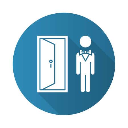 Doorman blue flat design long shadow glyph icon. Hotel entrance concierge service. Motel door person, butler. Bellhop, receptionist opening door. Lobby manager, servant. Vector silhouette illustration