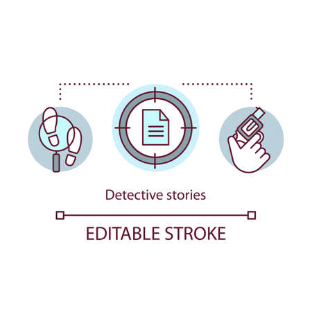 Detective stories books concept icon. Crime fiction literature idea thin line illustration. Criminal stories and investigations. Proof searching. Vector isolated outline drawing. Editable stroke Иллюстрация