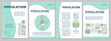 Population brochure template. Demographic problem. Flyer, booklet, leaflet print, cover design with linear illustrations. Vector page layouts for magazines, annual reports, advertising posters