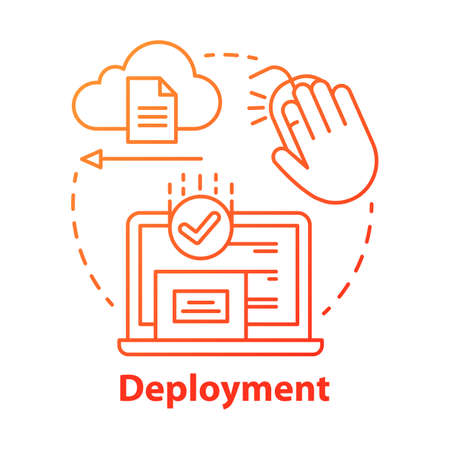 Deployment concept icon. Data send, receive. Product release. Usability test. Delivering completed software to consumers idea thin line illustration. Vector isolated outline drawing