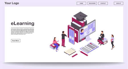 E learning webpage vector template with isometric illustration. Webinars, video tutorials. Online business training. Remote studying, distance education. Website interface layout. Webpage 3d concept  イラスト・ベクター素材