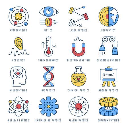 Ensemble d'icônes de couleur des branches de la physique. Processus et phénomènes physiques. Physique classique, moderne et quantique. Acoustique, électromagnétisme, thermodynamique. Illustrations vectorielles isolées Vecteurs