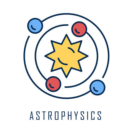 Astrophysics color icon. Astronomy branch. Study of universe, stars, planets, galaxies. Astrophysical discoveries. Cosmology, Solar System science. Space exploration. Isolated vector illustration Ilustração