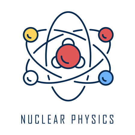 Nuclear physics color icon. Atomic structure model. Electrons, neutrons and protons. Subatomic molecular particles. Atom core elements. Nuclear matter and power. Isolated vector illustration Иллюстрация