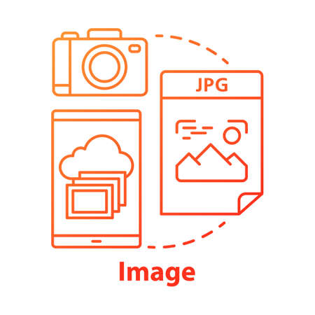 Image red concept icon. Visual information idea thin line illustration. Pictures and photos. Files storage. Albums, photobooks and collages. Photographing. Vector isolated outline drawing Иллюстрация
