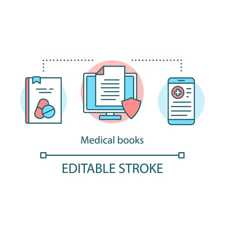 Medical books concept icon. Clinical studies literature idea thin line illustration. Health treatment and recommendations. Online therapeutic receipts. Vector isolated outline drawing. Editable stroke