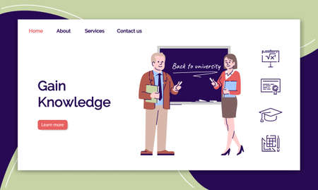 Gain knowledge landing page vector template. University lecturers and professors website interface with flat illustrations. Educational industry homepage layout. Web banner, webpage cartoon concept