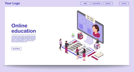 Online education webpage vector template with isometric illustration. E learning. Online courses, classes. Remote studying. Math webinar. Website interface design. Webpage, mobile app 3d concept