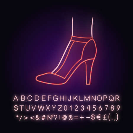 T-strap high heels neon light icon.  Woman stylish retro footwear design. Female casual shoes, luxury modern stilettos. Glowing sign with alphabet, numbers and symbols. Vector isolated illustration