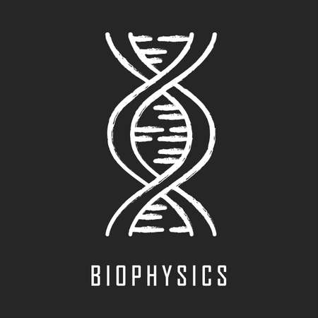 Biophysics chalk icon. Genetics research. DNA helix molecule structure. Genome scientific studies. Biotechnological, genetical engineering. Chromosome gene. Isolated vector chalkboard illustration