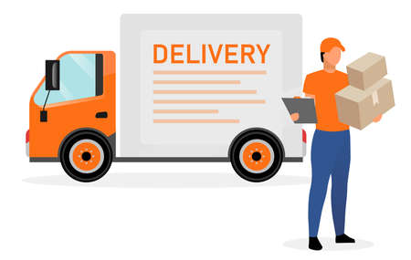 Delivery van driver with parcels flat character. Courier, postman, deliveryman holding cardboard boxes and order receipt isolated cartoon illustration on white background. Shipping service transport