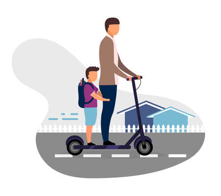 Schoolchildren riding scooter together flat vector illustration. Schoolboy with younger brother cartoon characters on white background. Teenage and preteen children going to school. Kids have fun Foto de archivo - 131213840