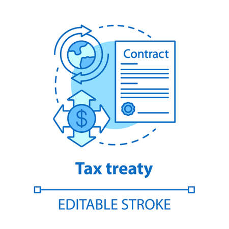 Tax treaty blue concept icon. International agreement idea thin line illustration. Fiscal evasion. Bilateral contract. Currency transaction. Vector isolated outline drawing. Editable stroke