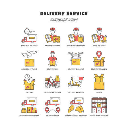 Delivery yellow color icons set. Express goods shipping. Logistics and distribution industry. Cargo, freight shipment. Courier postal service. Isolated vector illustrations