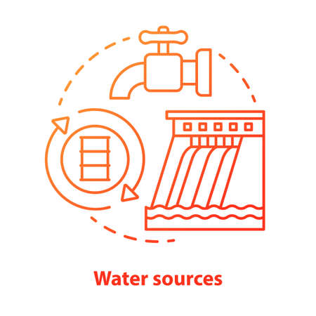 Water sources concept icon. Drinking water supplies idea thin line illustration in red. Reasonable usage and management of aqua resources. River pollution. Vector isolated outline drawing